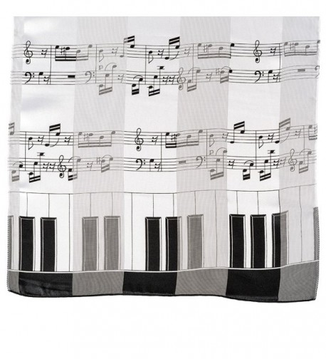 Music Note Scarf Piano White