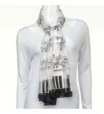 Music Note Scarf Piano White in Fashion Scarves