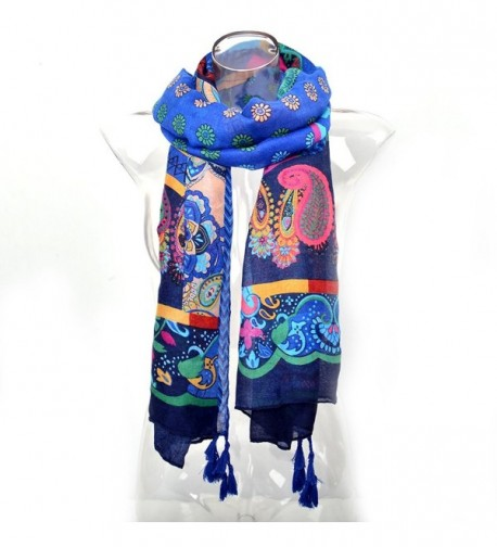 PHAYON Bohemia Scarves Retro Colorful Lightweight Tassels Floral For Women - M - CL183RXDNLL