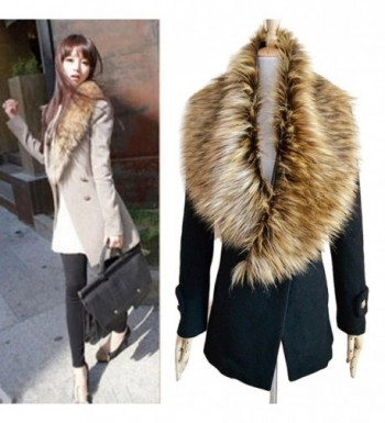 DZT1968 Women Faux Fox Fur Collar Scarf Shawl Collar Wrap Scarves - C - CF1280IHWFB