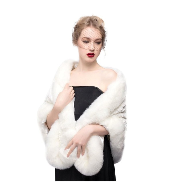Women's Faux Fur Shawl Wrap Cape for Bridal Wedding Party Ivory - CH11S22I697