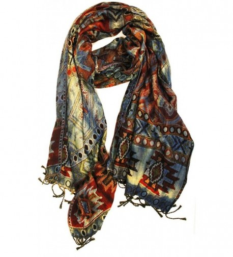 Quagga Women's Denim Overdye Scarf - Brown- Cream- Orange- Blue- Navy - CR12HX6XWUZ