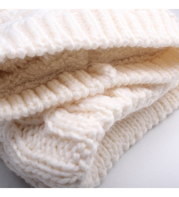 Womens Winter Hat and Scarf Set for Girls Knitted Beanie Hat Pom Pom Hats Infinity Scarf - White Raccoon Pom - CZ187AM3QYT