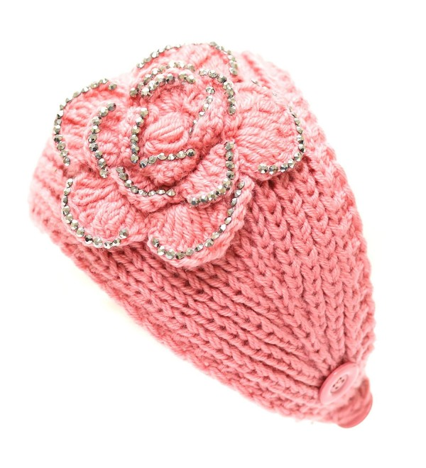 The Hat Depot 700hb-47a Hand Knit Crocheted Headband with Stone Flower Decoration-9colors - Pink - CJ129JJOHNZ