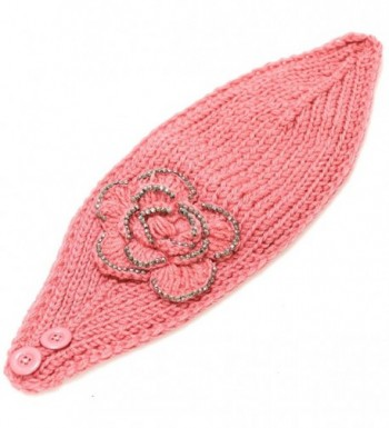 700hb 47a Crocheted Headband Flower Decoration 9colors in Women's Cold Weather Headbands