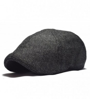 Deewang Fashion Men's Herringbone Tweed Newsboy- Duckbill Driving Cabbie Golf Ivy Cap (M/L- Charcoal) - CN12MRW7BT3