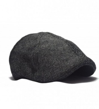Deewang Fashion Herringbone Duckbill Charcoal in Men's Newsboy Caps
