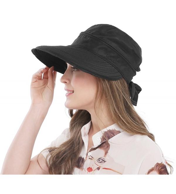 Bellady Wide Large Brim Sun Hat Summer UV Protection Thin Hat 2 In 1 Beach Sun Hat - Black - CP12NZ2ZTH3