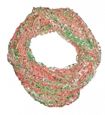Fun Lightweight Multi Color Infinity Tube Circle Scarf - Lime Green Neon Pink & White - CZ183GQ0DE2