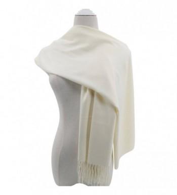 Pashmina Scarf for Women- Vimate Cashmere Feel Plain Colors Pashmina Shawls and Wraps - Off White - CA180L0TON4
