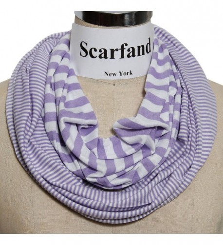 Scarfand's Colorful Light Weight Infinity Loop Scarf Various Designs - 2 Stripe Lavender - C411JY1CRL3