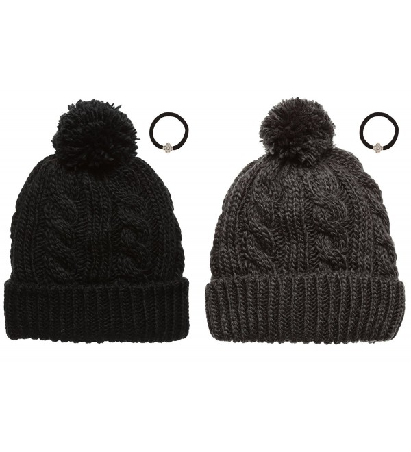 Womens Knitted Fleece Beanie MirMaru - 1 Black&1 Dark Grey - C212JOJOUQT