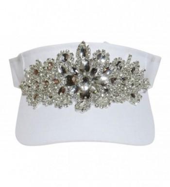 Large Rhinestone/Acrylic Stone Design Sun Visor Hat Cap - White - CK12FUWH91H