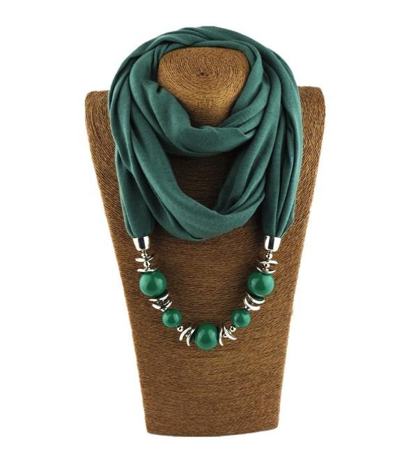 Classic Style Chiffon Necklace Sash Scarf with Jewelry Pendant - Dark Green 8 - C318349YIZ2