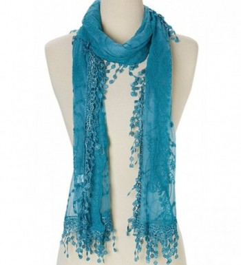 Cindy and Wendy Lightweight Soft Leaf Lace Fringes Scarf shawl for Women - Blue - C3186K543I0