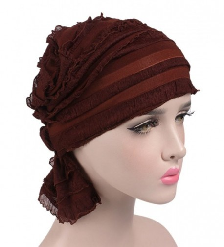 Womens Ruffle Beanie Beanies Coffee