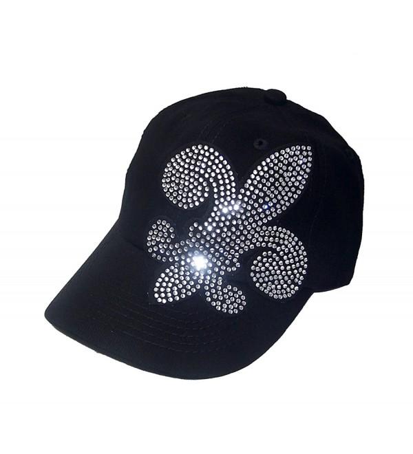 Large Rhinestone Fleur De Lis Black Baseball Hat Visor Sp - CI118CW0UIH