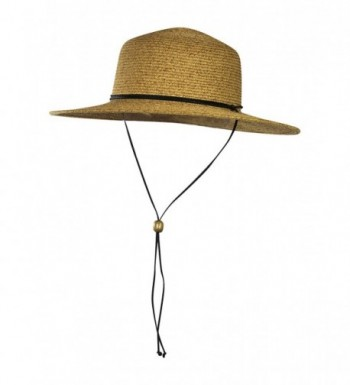 Folie Co. Wide Brim Straw Sun Hat w/Chin Strap - Summer Cap For Beach- Travel & Garden - Natural - C612JJJGRD3