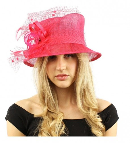Elegant Victorian Netted Overlay Simamay Millinery Bucket Cloche Dress Hat - Fuchsia - CS12CPJNCZZ