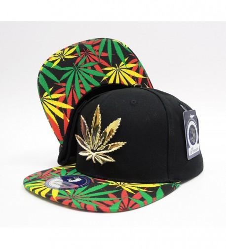 Cap2Shoes Men's Marijuana Metal Weed Leaf Snapback One Size - Rasts - CH11ZA7J39X