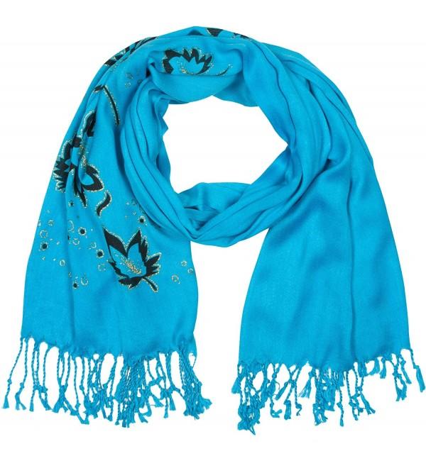 Sakkas Metallic Leaves Pashmina Scarf / Stole / Wrap / Shawl - Turquoise - CR11FX86UTB