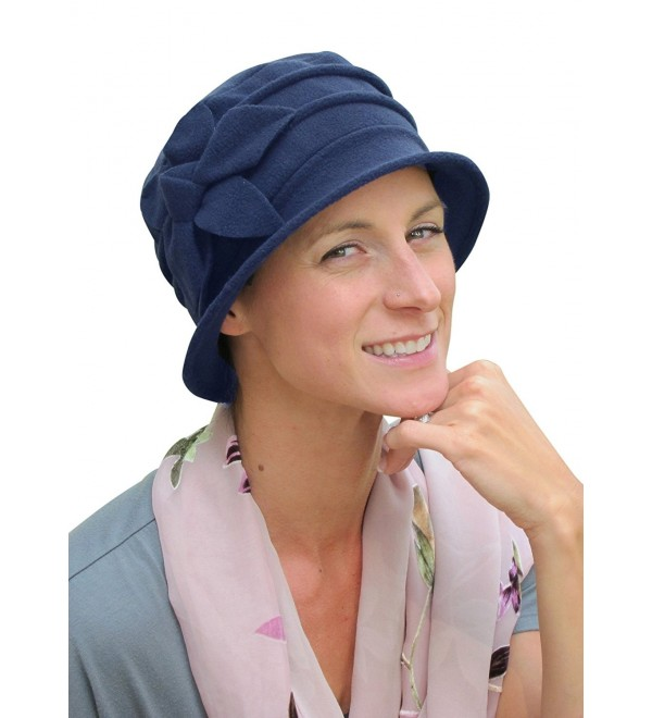 Hats- Scarves and More Fleece Flower Cloche Hat For Chemo & Cancer Patients - Navy - CX1236NWWDH
