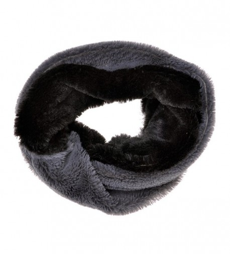 ZLYC Women Fashion Two Tone Stripe Faux Fur Infinity Scarf Winter Accessory - Gray - C0125RKVTNL