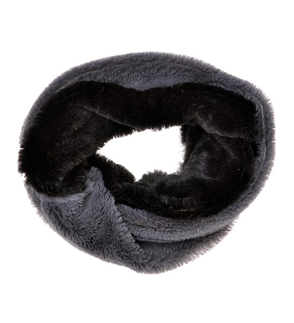 ZLYC Women Fashion Two Tone Stripe Faux Fur Infinity Scarf Winter Accessory - Gray - C0125RKVTNL
