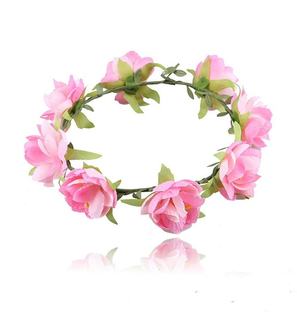 beauty YFJH Headband Beach Hair Wreath Floral Flower Crown Garland Festival Wedding - Pink - C9184CKGUTR
