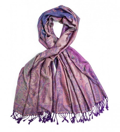 Amrita Scarf- Pashmina Indian Paisley Traditional Jacquard Shawl - Purple - C9188UNOYAY