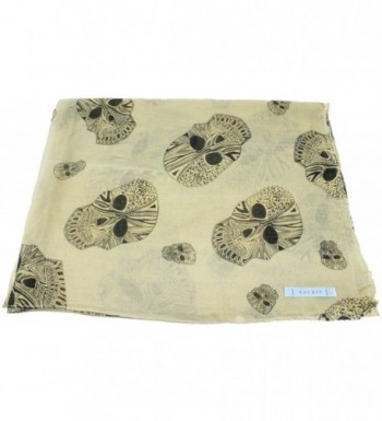 Kuldip Crushed Effect Pashmina Style Scarf. Skull and Skull with Bird Designs. - Skull Beige - CZ11FHMWX3Z