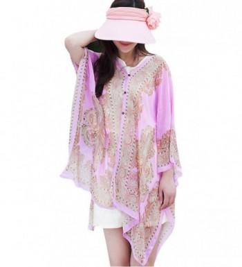 BeiYe Beachwear Shawl- Scarf Swim-Beach Cover Up-Women Boho Chiffon Kimono Scarf Cover-UPS - Pink - C2184QSR8MT