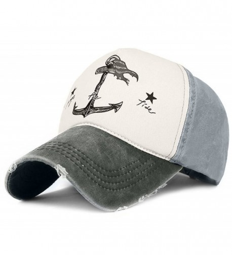 Glamorstar Pirate Ship Anchor Baseball Hat Multicolor Printing Adjustable Hip-Hop Cap - Black Grey - C417Z77RRAA