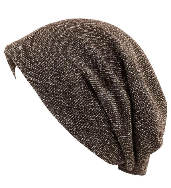 THE HAT DEPOT Unisex Heather Tweed/Solid Fleece Lined Slouchy Long Beanie Warm Hat - Brown - CH12LWW3X2D