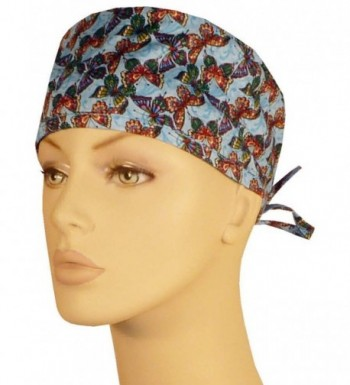 Mens and Womens Medical Scrub Caps - Multi Colored Butterflies on Blue - CU12N8TORXB