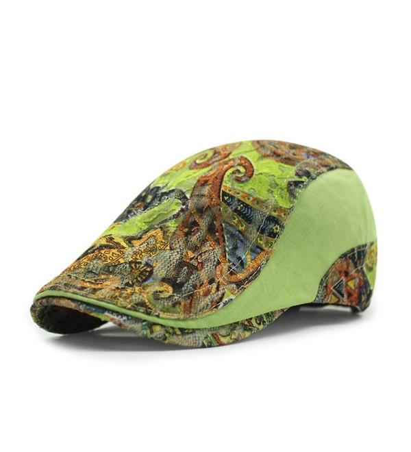 Gumstyle Men Womens Duckbill Ivy Cap Golf Driving Flat Cabbie Newsboy Beret Hat Flowers - Green - CA12M7NFC0R