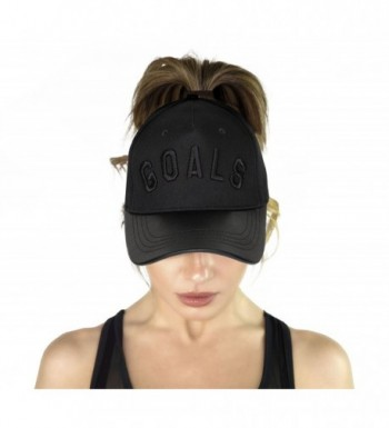 AB Butter Goals Ponytail Hole Strapback Baseball Cap Dad Hat - Black Leather Brim - CU189LKIWO2