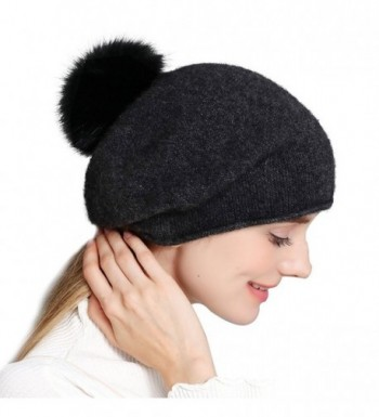 Cashmere Womens Winter Beret Beanie Hat Slouch Baggy Knit Fox Fur Pom Pom Hat - Hat With Pom Pom - CZ18536R5Y2