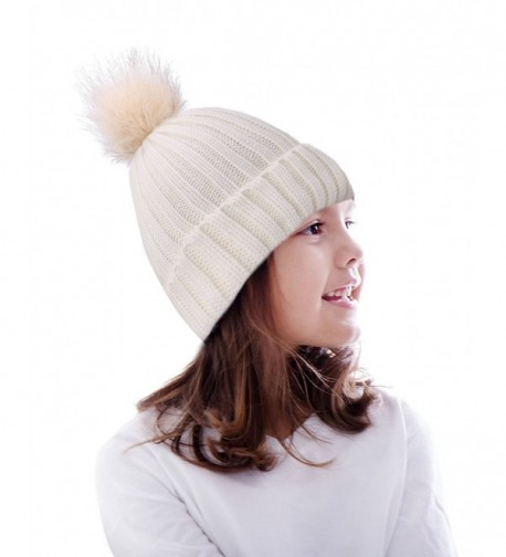 Arctic Paw Unisex Cable Knit Kids Girls Beanie Hat with Faux Fur Pom Pom - CR1822SEDGC