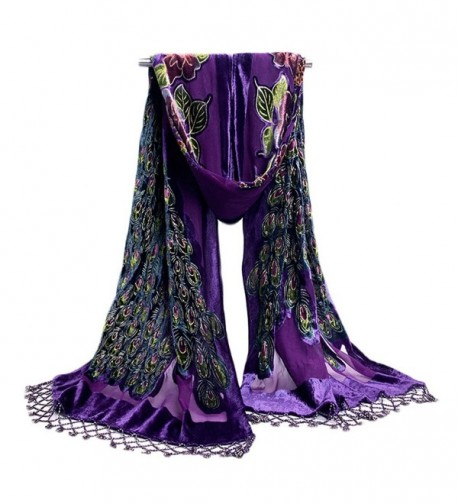 COCONEEN Peacock Embroidered Beads Long Scarf Shawls - Purple - CE121884VXL