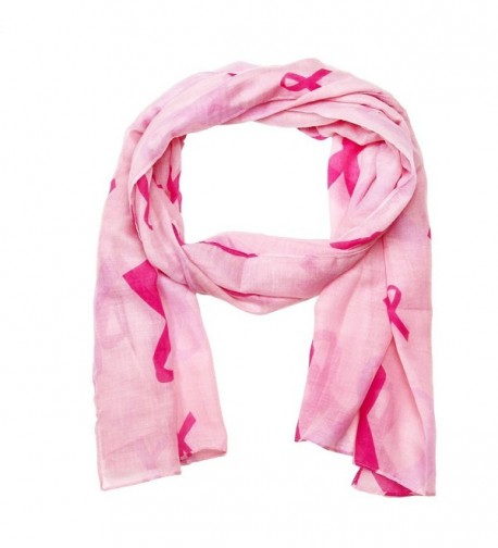 Falari Women's Pink Ribbon Breast Cancer Symbol Scarf - Pink Scarf - C6184W73ZDH