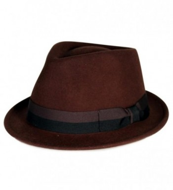 City Hunter Pmw88 Pamoa Wool Felt Fedora with 2 Tone Bow Trim ( 3 Colors ) - Brown - CY11G0J6A4B