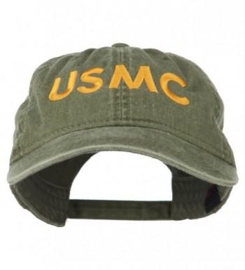 USMC Letter Embroidered Washed Cap - Olive - CB11LUGZNJ3