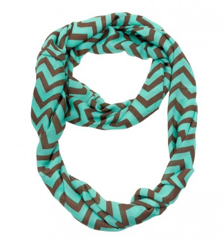 Silverhooks Womens Soft Infinity Loop Sheer Chevron Scarf - Thin Pattern - Turquoise/Brown - CU186KATK7Y