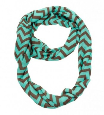 Silverhooks Womens Soft Infinity Loop Sheer Chevron Scarf - Thin Pattern - Turquoise/Brown - CU186KATK7Y