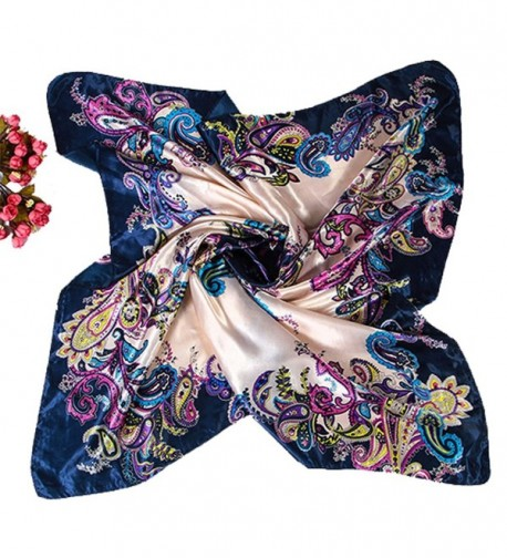 "Polytree Womens Floral Imitated Silk Satin Large Square Scarf 35""&times35"" - Dark Blue 2 - CJ12N14A16N"