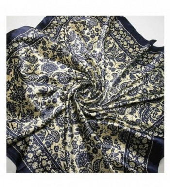 GOOTRADES Women's Big Square Scarf Imitated Silk Satin Kerchief Headcloth 90x90cm - C - CJ12KJF4ALV