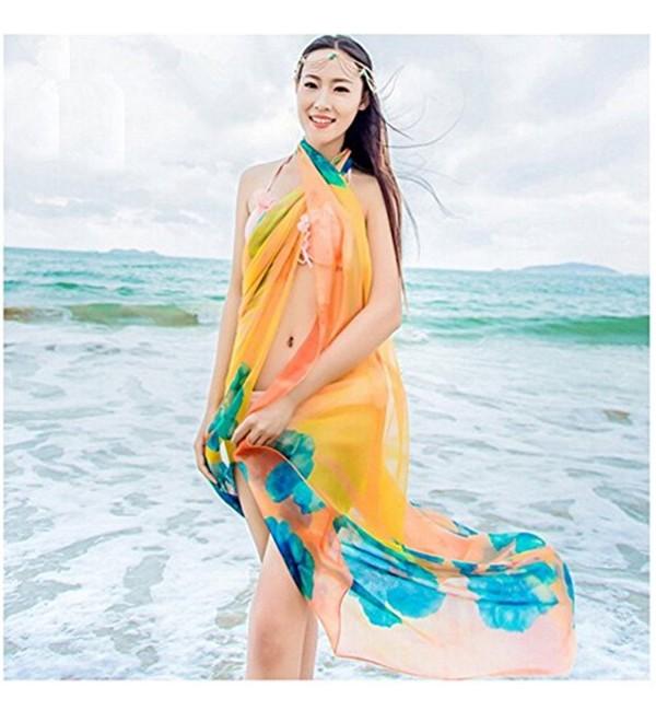 Herebuy8 Hawaiian Swimsuit Cover up Hibiscus - Orange - CC17XHRM8SH
