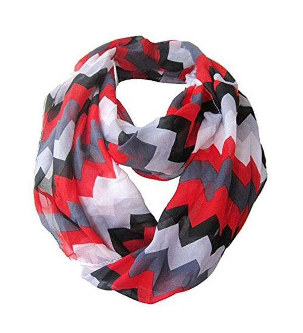 LIVEBOX Women's Premium Soft Light Weight Colorful Zig Zag Chevron Sheer Infinity Scarf - Red/Black/Gray - C011YK9V1U7