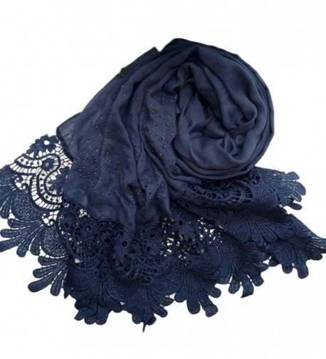 Raylans Women Lady Fashion Cotton Lace Long Scarf Wrap Shawl - Navy Blue - CQ12NS3XADR